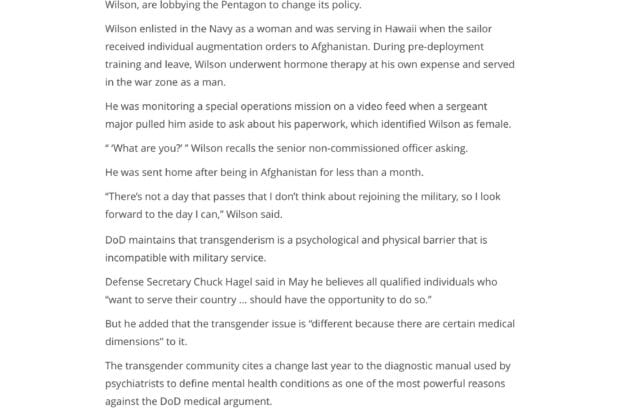 Military Times - Transgender troops say they want to serve